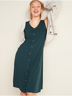Rib-Knit Button-Front Sleeveless Midi Dress
