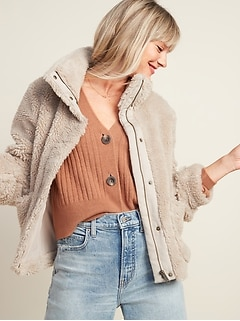 Relaxed Cozy Sherpa Faux-Fur Jacket for Women