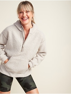 Cozy Teddy Sherpa Half-Zip Tunic Hoodie for Women