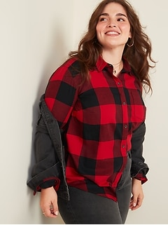 Classic Plaid Flannel No-Peek Plus-Size Shirt