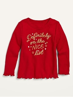 Cozy Rib-Knit Graphic Long-Sleeve Top for Toddler Girls
