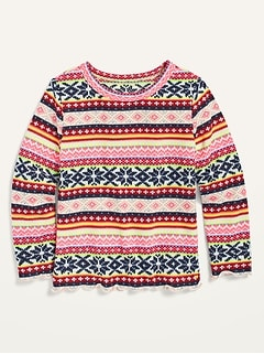 Long-Sleeve Plush-Knit Fair Isle Top for Toddler Girls