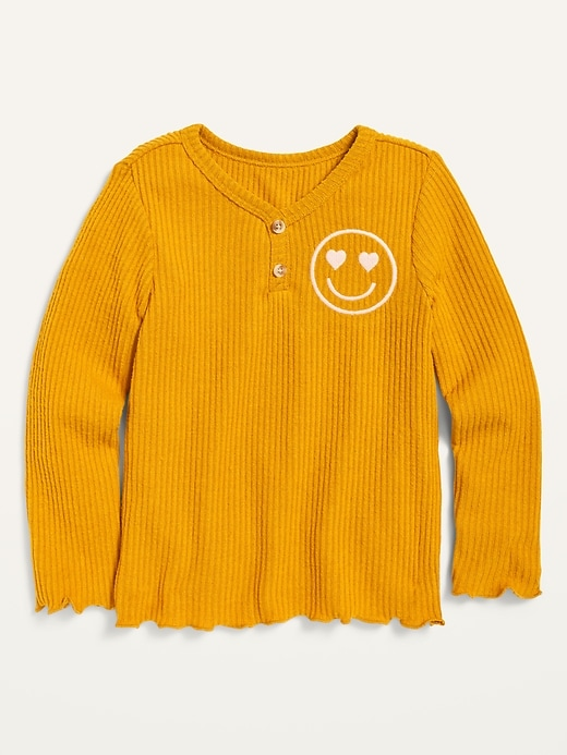 Graphic Cozy Rib-Knit Long-Sleeve Henley Top for Toddler Girls