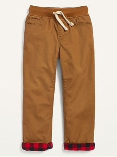 Cozy-Lined Twill Pull-On Pants for Toddler Boys