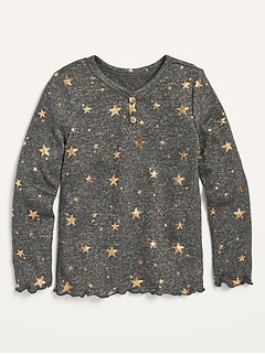 Cozy Plush-Knit Star-Print Henley for Toddler Girls