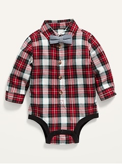 Unisex Long-Sleeve Plaid Poplin Bodysuit and Bow-Tie for Baby