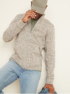 Sweater-Fleece Full-Zip Mock-Neck Sweatshirt for Men