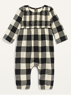 Cozy Buffalo Plaid Long-Sleeve Jumpsuit for Baby