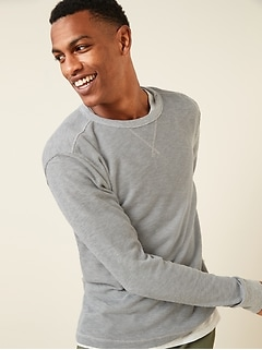 Soft-Washed Thermal-Knit Long-Sleeve Tee for Men