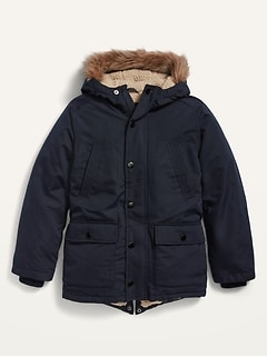 Water-Resistant Faux-Fur-Trim Hooded Parka for Boys