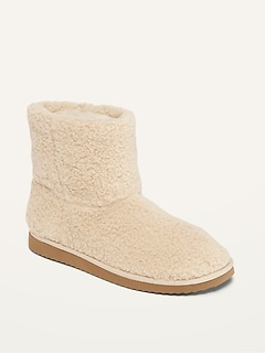 Cozy Sherpa Slipper Booties for Women