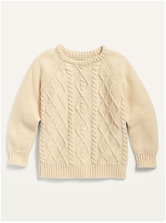 Cable-Knit Crew-Neck Sweater for Toddler Boys
