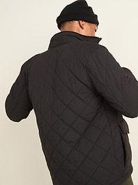 Quilted Utility-Pocket Zip Jacket for Men
