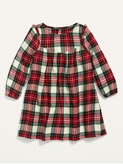 Printed Flannel Dress for Toddler Girls