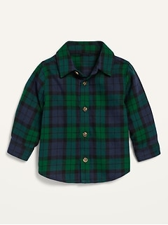 Unisex Long-Sleeve Button-Front Plaid Shirt for Baby