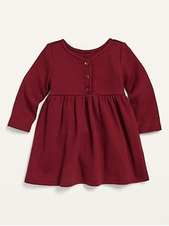 Fit & Flare Thermal Henley Dress for Baby