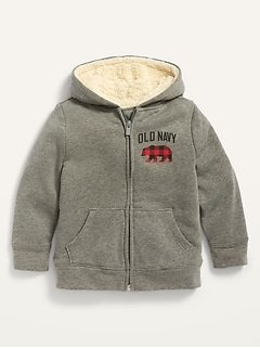 Unisex Logo-Graphic Sherpa-Lined Zip Hoodie for Toddler