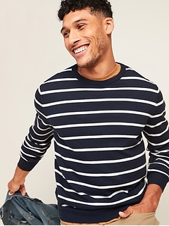 Striped Soft-Washed Crew-Neck Sweater for Men