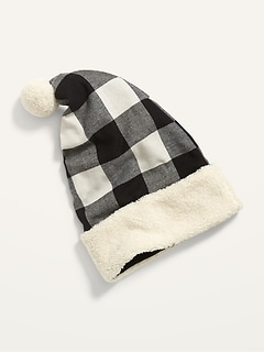 Cozy Buffalo Plaid Flannel Santa Hat for Adults