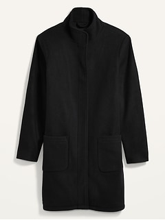 Oversized Soft-Brushed Funnel-Neck Patch-Pocket Coat for Women