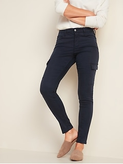 High-Waisted Sateen Rockstar Super Skinny Cargo Pants for Women