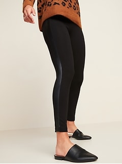 High-Waisted Faux-Leather Panel Leggings for Women