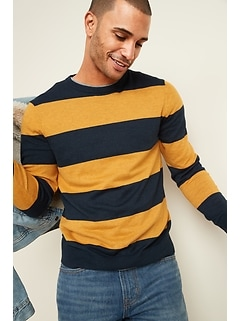 Rugby-Stripe Crew-Neck Sweater for Men