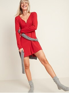 Cozy Pointelle-Knit Romper for Women