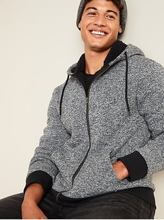 Sherpa-Lined Sweater-Fleece Zip Hoodie for Men
