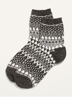 Fair Isle Quarter Crew Socks for Women