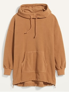 Oversized Micro Performance Fleece Pullover Hoodie for Women