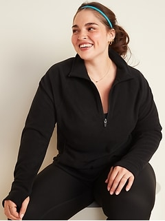 Go-Warm Micro Performance Fleece Plus-Size 1/4-Zip Sweatshirt