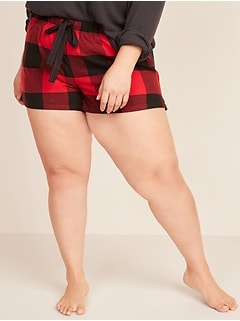 Patterned Flannel Plus-Size Boxer Pajama Shorts -- 3.5-inch inseam