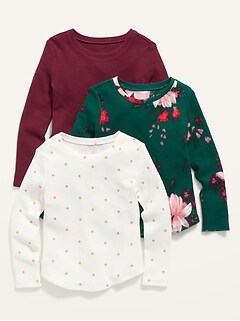 Thermal-Knit Long-Sleeve Top 3-Pack for Toddler Girls