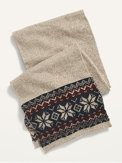 Fair Isle Sweater-Knit Scarf for Men