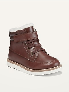 Faux-Leather Sherpa-Trim Boots for Toddler Boys