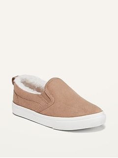 Unisex Faux-Suede Sherpa-Lined Slip-Ons for Toddler