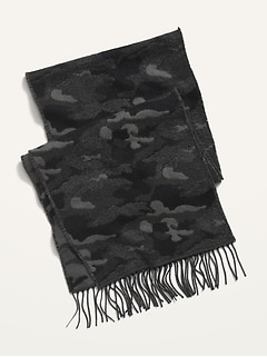 Camo Flannel Fringed Scarf for Men