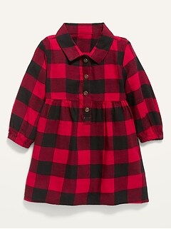 Plaid Flannel Shirt Dress for Baby