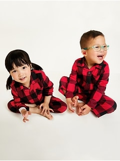 Unisex Plaid Pajama Set for Toddler & Baby