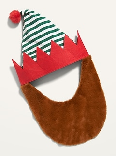 Christmas Elf Hat & Faux-Fur Beard for Adults