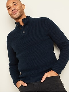 Textured Button-Down Mock-Neck Sweater for Men