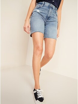 Extra High-Waisted Sky-Hi Distressed Cut-Off Jean Shorts for Women -- 7-inch inseam