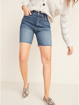 Extra High-Waisted Sky-Hi Cut-Off Jean Shorts for Women -- 7-inch inseam
