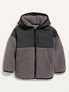 Color-Blocked Sherpa Jacket for Toddler Boys