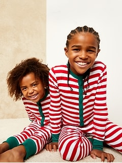 Gender-Neutral Snug-Fit Graphic Henley Pajama One-Piece for Kids
