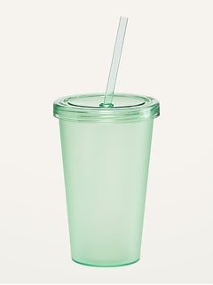 Reusable Drink Tumbler Cup (With Lid & Straw)
