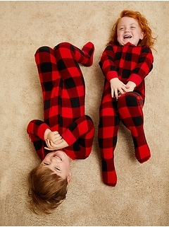 Unisex Micro Fleece Plaid Footie Pajama One-Piece for Toddler & Baby