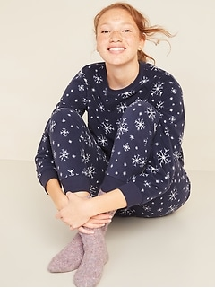Patterned Micro Performance Fleece Pajama Set for Women