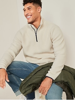 Cozy Sherpa Mock-Neck 1/4-Zip Sweatshirt for Men